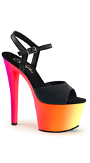 UV Reactive Ombre Platforms - Black Faux Leather/Neon Multi