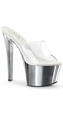 7 Inch Spike Heel Platform Sandal - Clear/Silver Chrome