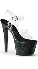 Sky Ankle Strap Sandal Glitter Platform - Clear/Black Glitter