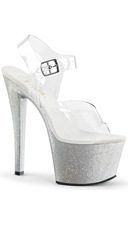 Sky Ankle Strap Sandal Glitter Platform - Clear/Silver Glitter