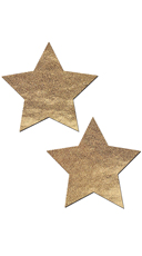 Gold Liquid Star Pasties - Gold