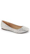 Rhinestone Round Toe Ballet Flats - Silver Glitter Mesh Fabric