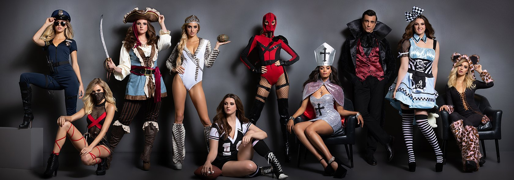 Group image of multiple Halloween costumes